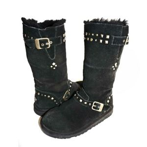 "Kids UGG ""Wynter"" Tall Black Studded Boots"